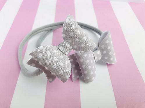 Grey Dotty Bow