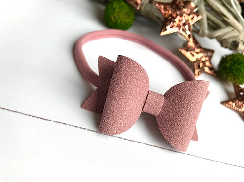 Dusty Pink Suede Bow