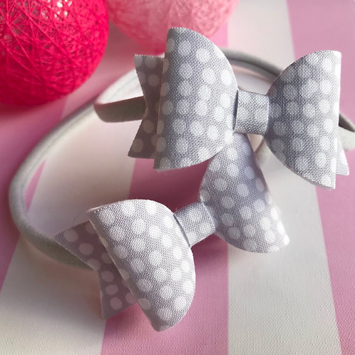 Grey Dotty Bow