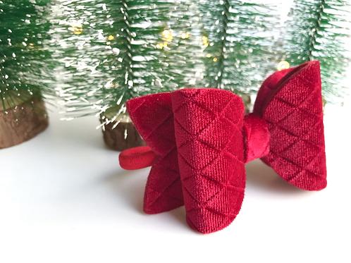 Red Nutcracker Velvet Bow