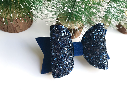Navy Suede Sparkle Bow