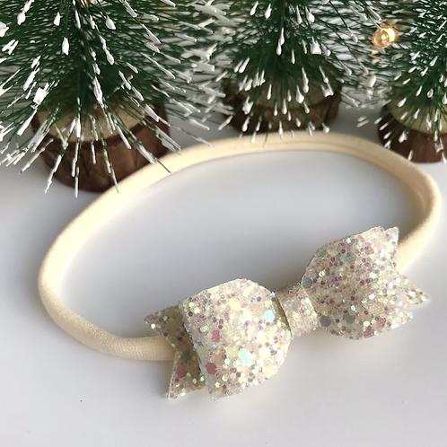 Petite Cream Sparkle Bow