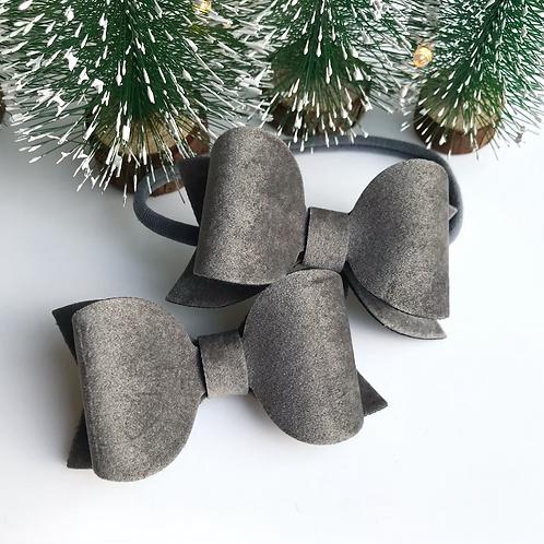 Grey Suede Bow