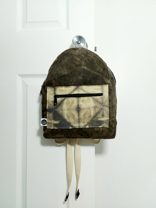 Mini backpack in grey with tie dye panels