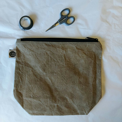 Large olive green waxed canvas washbag