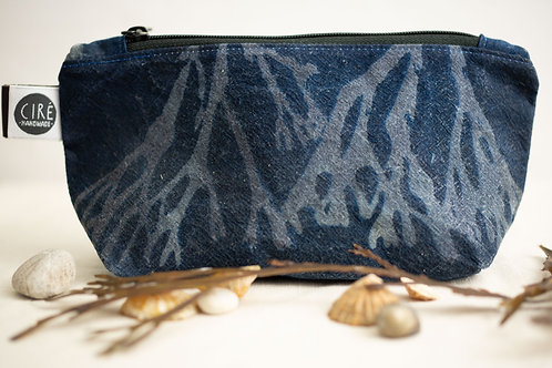 Blue cyanotype bag made from waxed canvas imprinted with seaweed patter