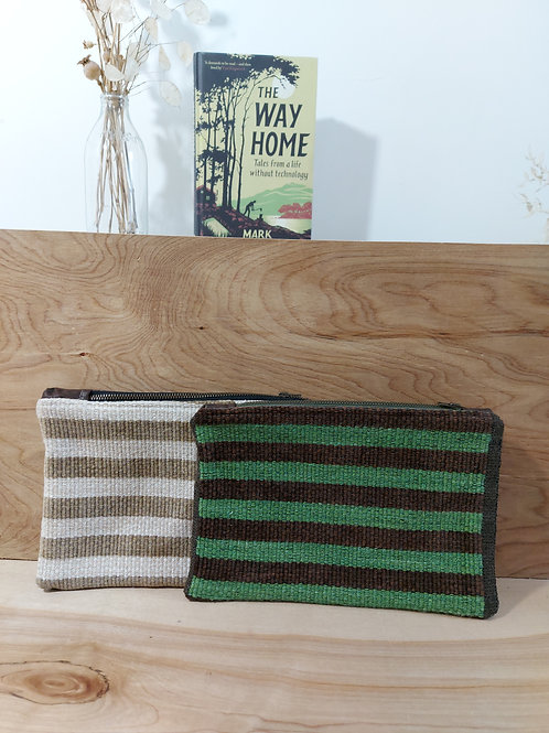 Recycled leather clutches
