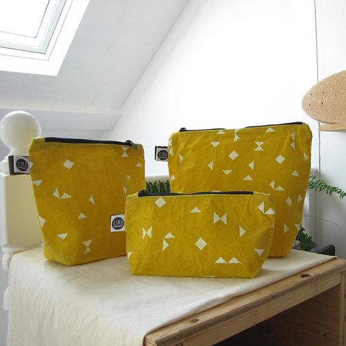 Yellow triangle print washbag