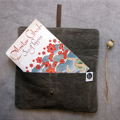 Plain grey waxed canvas book cover made from organic cotton dyed naturally