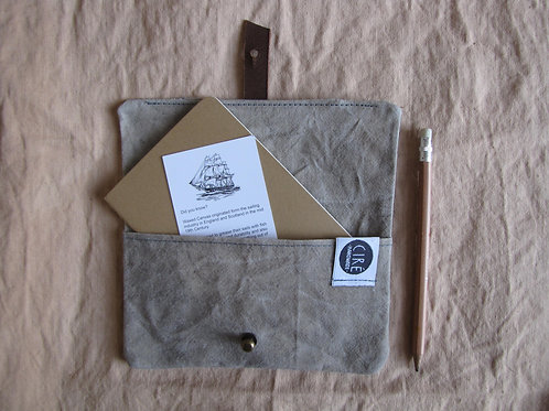Light grey A6 notebook cover made with organic waxed canvas