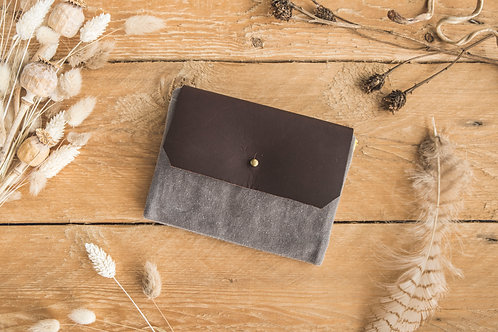 Plain grey waxed canvas wallet with darker leather flap
