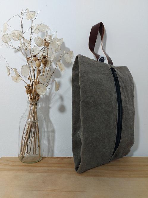Large shoe-bag style bag, black waxed canvas