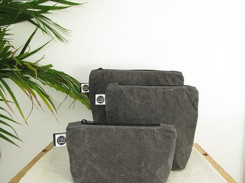 Dark grey waxed canvas washbag organic cotton dyed naturally