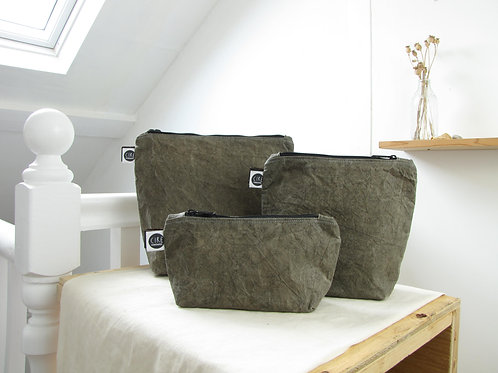 Kahki green washbag made with hand prepared waxed canvas