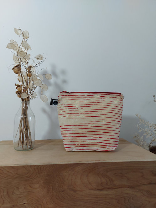 Waxed canvas washbag, Large size, cream with red stripes