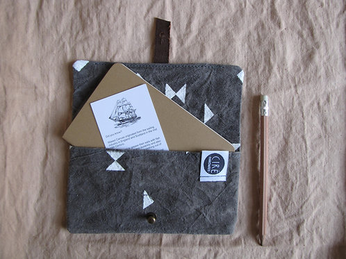 Grey triangle print waxed canvas journal cover A6 notebook size