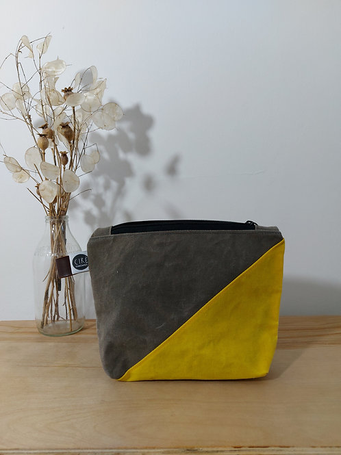 Small yellow and grey washbag