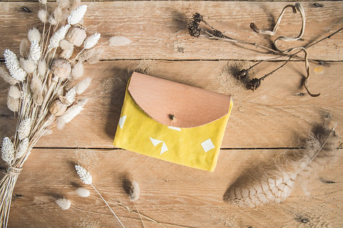 Waxed canvas wallet with leather flap, yellow and pink