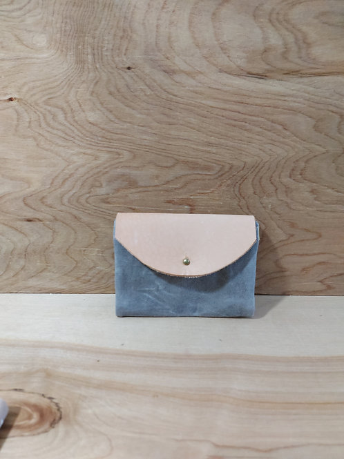Wallet, plain grey with yellow inside