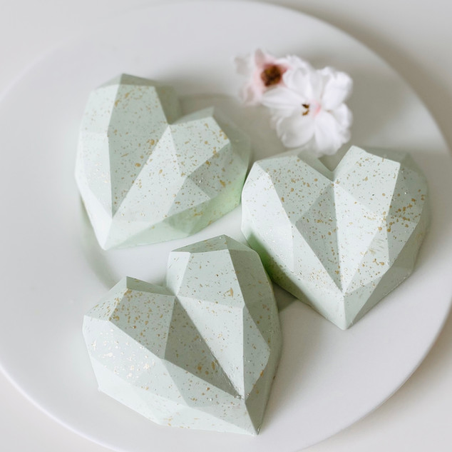 White Belgian Chocolate Cake Hearts