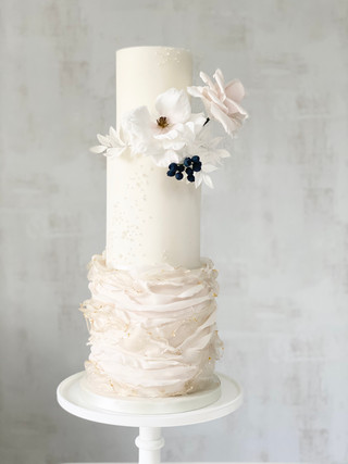 Ruffle and pearl luxury wedding cake
