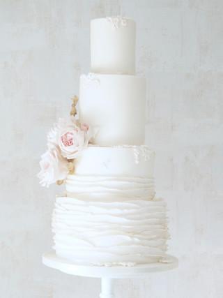 White and Gold Ruffle Cake
