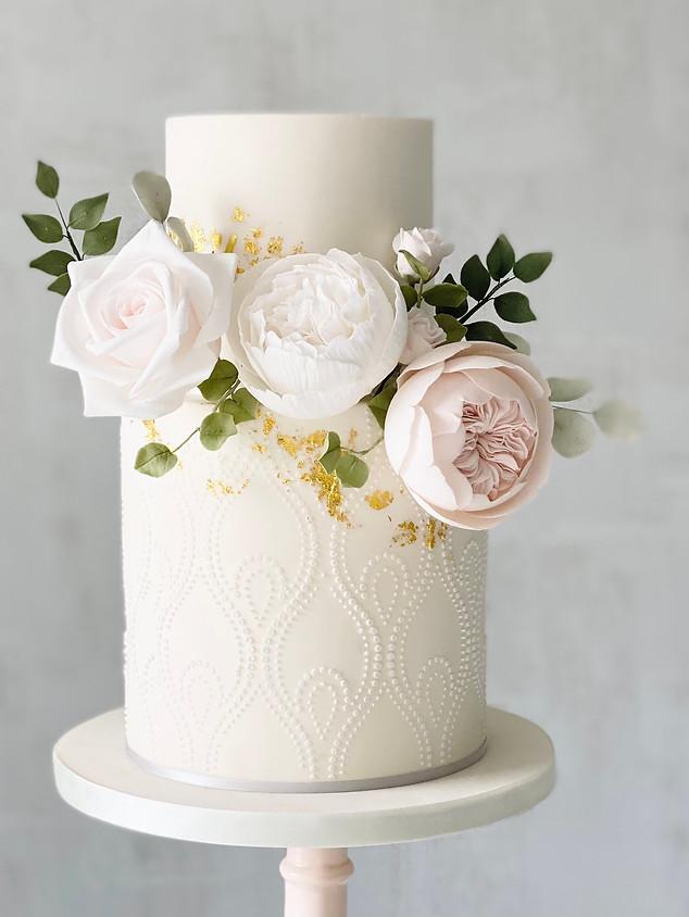gold stencil floral wedding cake.jpeg