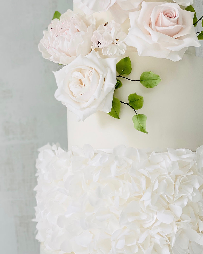 Fluffy petals wedding cake