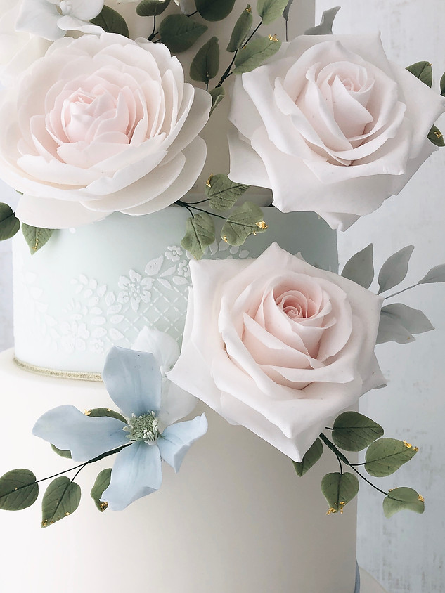 Soft blue wedding cake