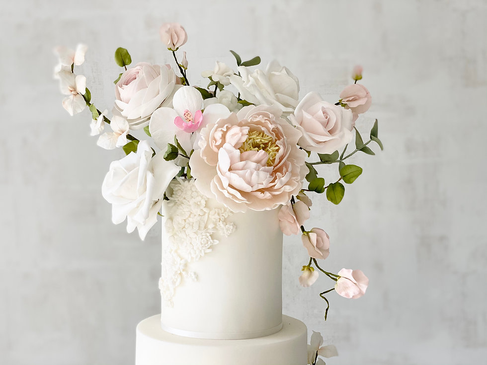 Spring orchid wedding cake