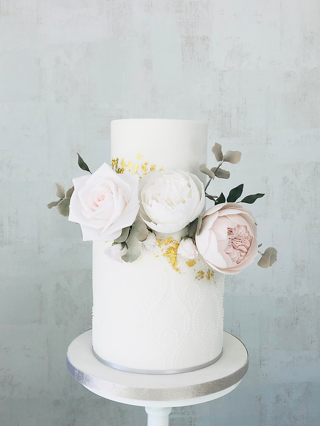 Two tier blush wedding cake