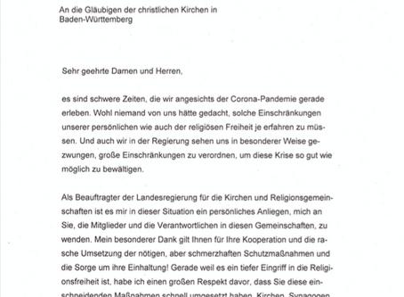 Anschreiben unseres Ministerpräsidenten Winfried Kretschmann