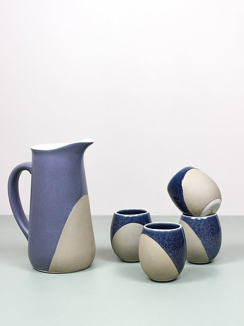 Neer Drinkware Set : Midnight blue (4 small tumblers, 1 pitcher)