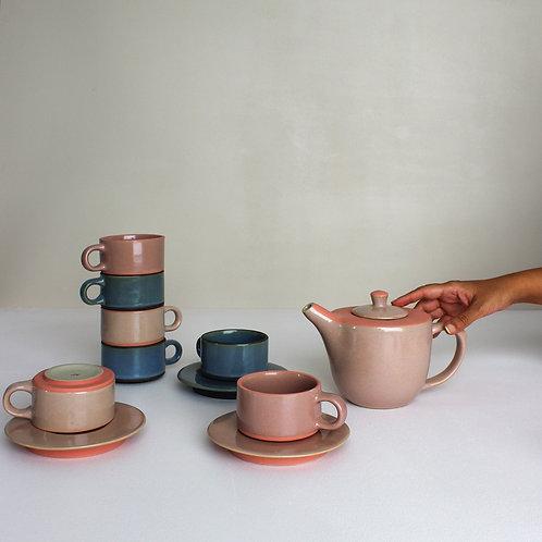 Anăndă Mug Set : Blush Pink (4 mugs, 1 creamer, 1 teapot)