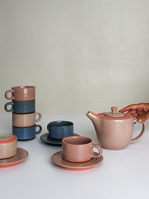 Ananda Mug Set : Blush Pink (4 mugs, 1 creamer, 1 teapot)