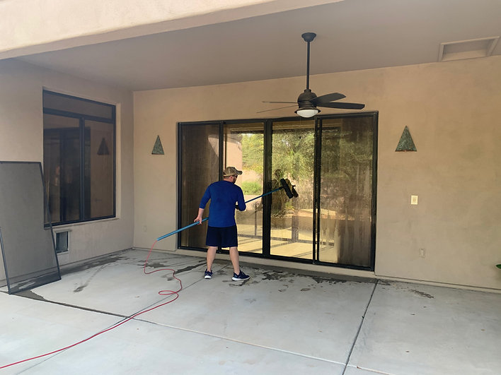 Man washing windows