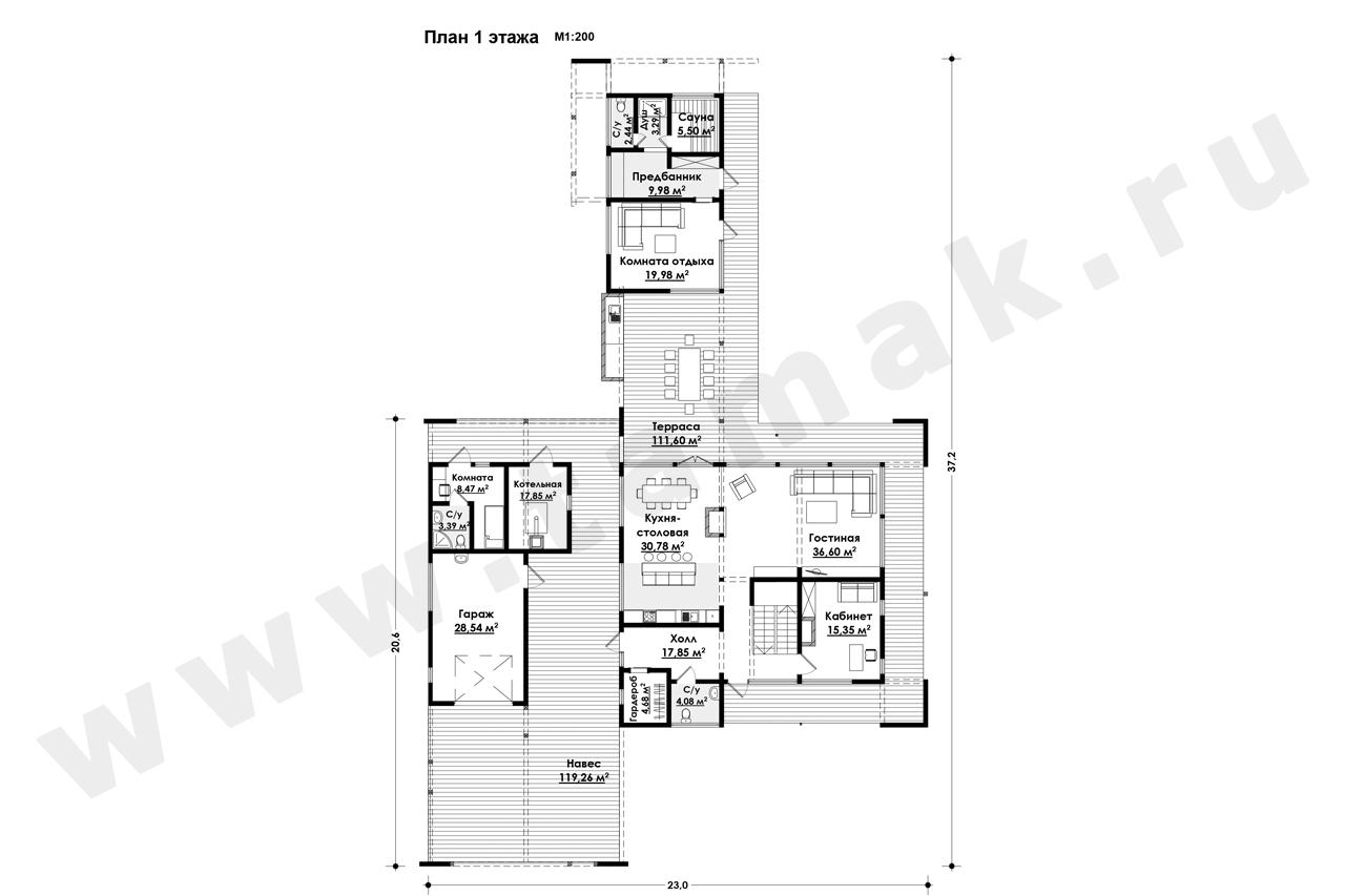 Casă 574 m.p. - Planul etajelor