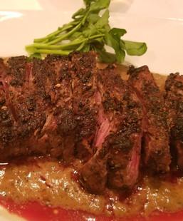 Five Peppercorn Rubbed Prime Strip Steak