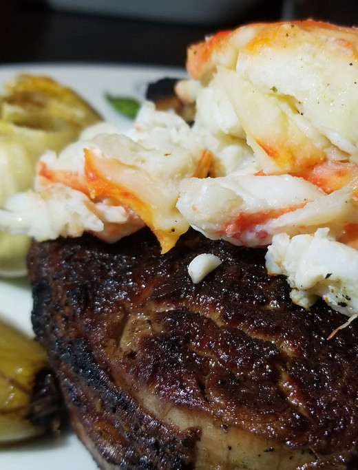 Bone-in, Angus Filet Mignon with Dungeness Crab