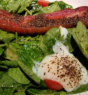 Spinach Salad with Maple Glazed Peppered Bacon, Poached Egg & Sherry Vinaigrette