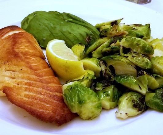 Salmon with Brussel Sprouts and Avocado
