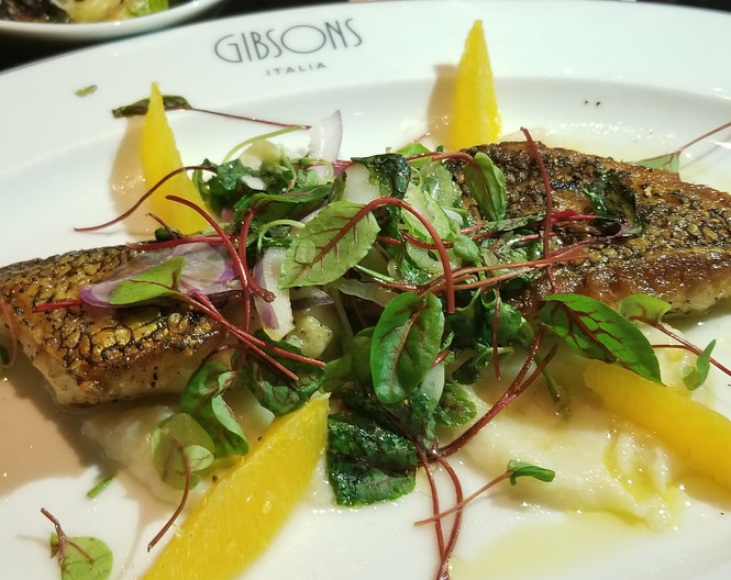 Black Bass, Pan Seared with Fennel & Orange over Salad