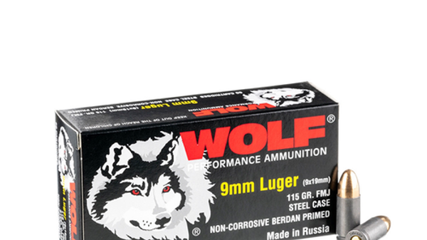 Wolf 9mm Ammo- 115 Grain (Steel)