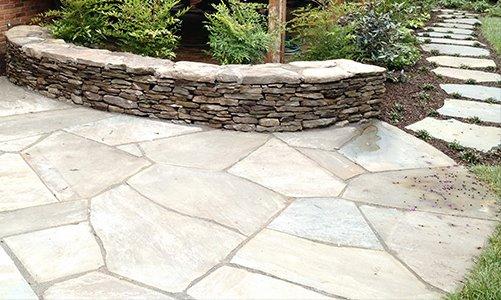 Flagstone Patio/ Stone Wall