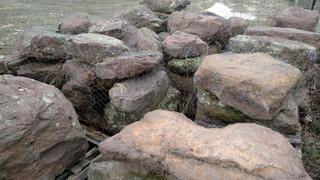 Red Fieldstone Boulders