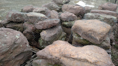 Red Fieldstone Boulders