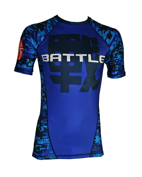 Digital Camouflage Short Sleeve NO GI / MMA Rashguard in BLUE