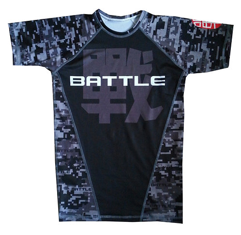 Digital Camouflage Short Sleeve NO GI / MMA Rashguard in BLACK
