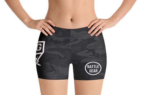Subdued Black Camo T1 Female Tight Grapple  MMA Shorts