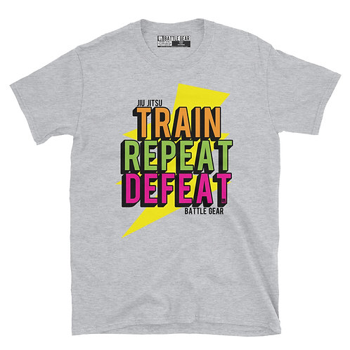 Train Repeat Defeat Unisex T shirt in Grey